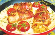 Rulouri de pui în bacon cu ciuperci