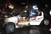 Maşina de Poliţie a luat foc!