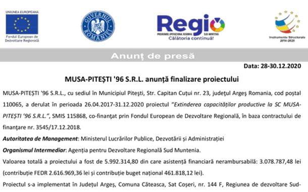 MUSA-PITEȘTI '96 S.R.L. anunță finalizare proiectului
