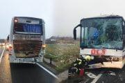 S-au lovit două autobuze cu călători!