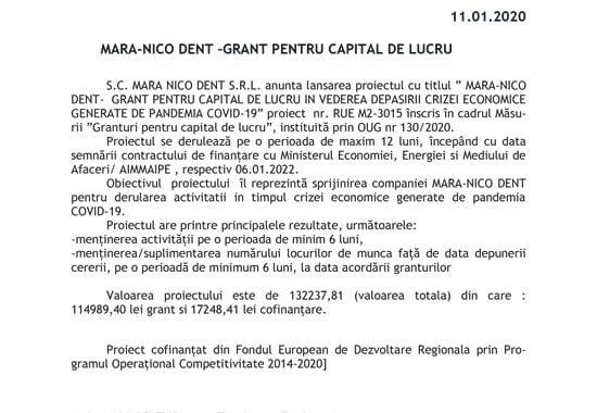 MARA-NICO DENT –GRANT PENTRU CAPITAL DE LUCRU