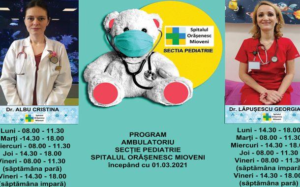 Program și după-amiaza la Pediatria Spitalului Orăşenesc