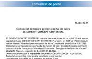 Comunicat demarare proiect capital de lucru                         SC CONEINT CONCEPT CENTER SRL
