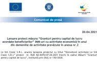 """Lansare proiect măsura """"Granturi pentru capital de lucru acordate beneficiarilor"""""""