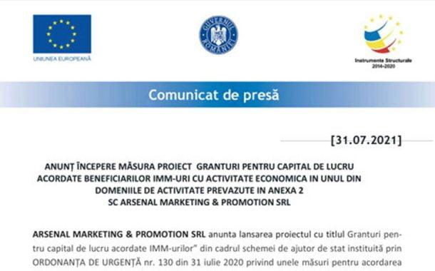 ANUNȚ ÎNCEPERE MĂSURA PROIECT GRANTURI PENTRU CAPITAL DE LUCRU ACORDATE BENEFICIARILOR IMM-URI