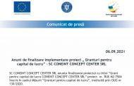 """Anunt de finalizare implementare proiect """" Granturi pentru capital de lucru"""" - SC CONEINT CONCEPT CENTER SRL"""