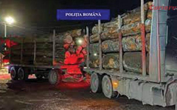 Camion confiscat pentru transport ilegal de lemne