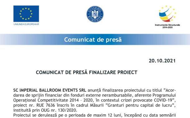 COMUNICAT DE PRESĂ FINALIZARE PROIECT