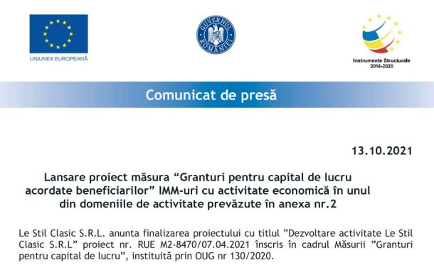 """Lansare proiect măsura """"Granturi pentru capital de lucru acordate beneficiarilor"""" IMM-uri cu activitate economică în unul din domeniile de activitate prevăzute în anexa nr.2"""